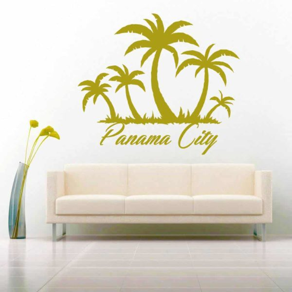 Panama City Palm Tree Island Vinyl Wall Decal Sticker