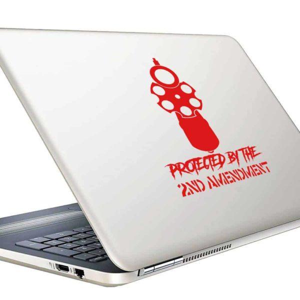 Protected By The 2nd Amendment Hand Gun Pistol Vinyl Laptop Macbook Decal Sticker