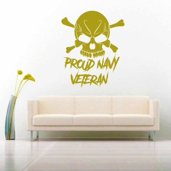 Proud Navy Veteran Skull Vinyl Wall Decal Sticker