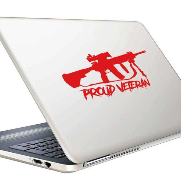 Proud Veteran Machine Gun Vinyl Laptop Macbook Decal Sticker