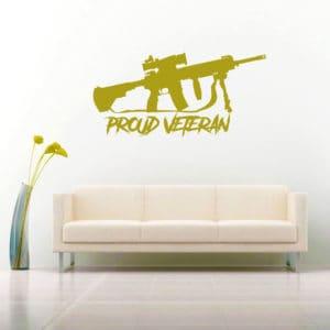Proud Veteran Machine Gun Vinyl Wall Decal Sticker