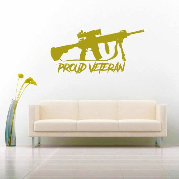 Proud Veteran Machine Gun Vinyl Wall Decal Sticker