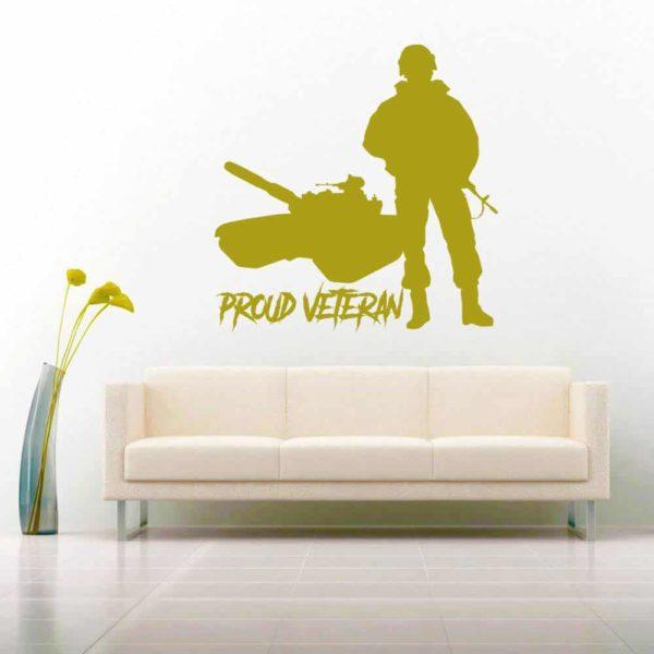 Proud Veteran Soldier Tank Vinyl Laptop Macbook Decal Sticker
