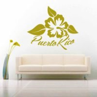 Puerto Ric Hibiscus Flower Vinyl Wall Decal Sticker