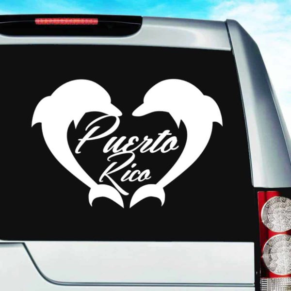 Puerto Rico Dolphin Heart Vinyl Car Window Decal Sticker