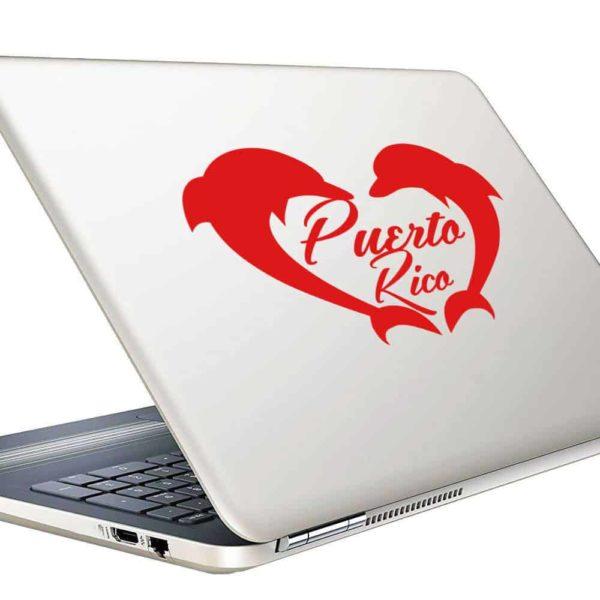 Puerto Rico Dolphin Heart Vinyl Laptop Macbook Decal Sticker