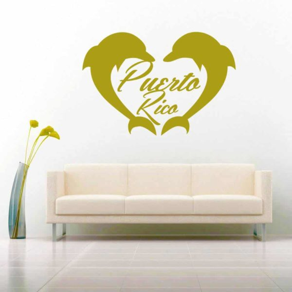 Puerto Rico Dolphin Heart Vinyl Wall Decal Sticker
