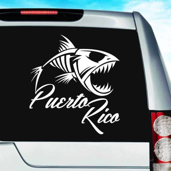 Puerto Rico Fish Skeleton Vinyl Car Window Decal Sticker