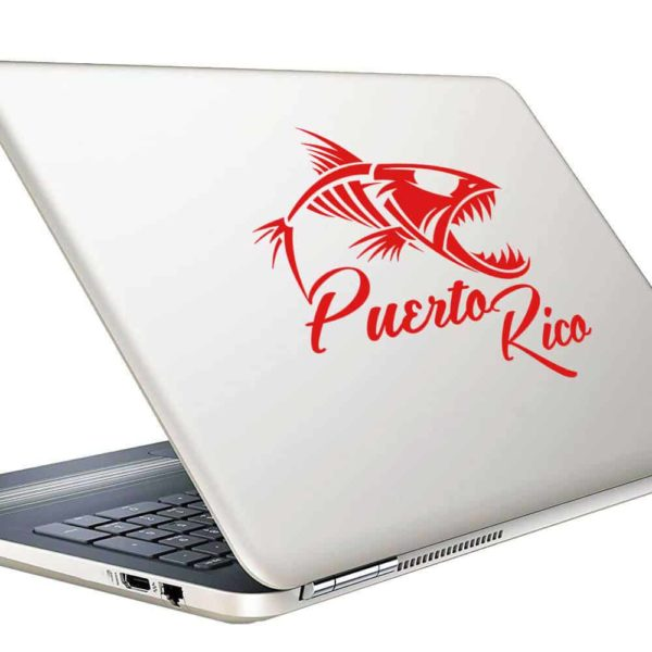Puerto Rico Fish Skeleton Vinyl Laptop Macbook Decal Sticker