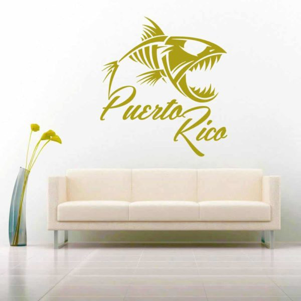 Puerto Rico Fish Skeleton Vinyl Wall Decal Sticker