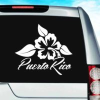 Puerto Rico Hibiscus Flower Vinyl Car Window Decal Sticker