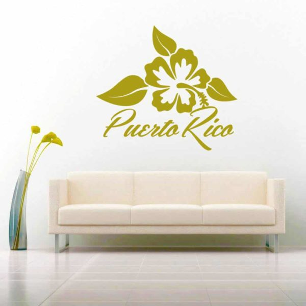 Puerto Rico Hibiscus Flower Vinyl Wall Decal Sticker