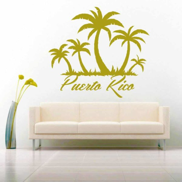 Puerto Rico Palm Tree Island Vinyl Wall Decal Sticker