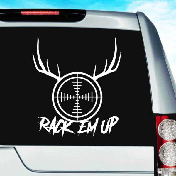 Rack Em Up Rifle Gun Scope Antlers Vinyl Car Window Decal Sticker