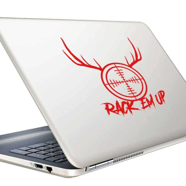 Rack Em Up Rifle Gun Scope Antlers Vinyl Laptop Macbook Decal Sticker