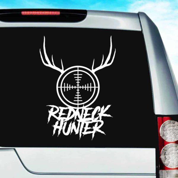 Redneck Hunter Rifle Gun Scope Antlers Vinyl Car Window Decal Sticker