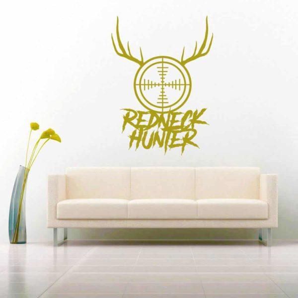 Redneck Hunter Rifle Gun Scope Antlers Vinyl Wall Decal Sticker