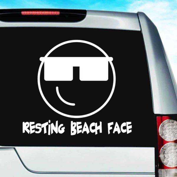 Resting Beach Face Vinyl Car Window Decal Sticker