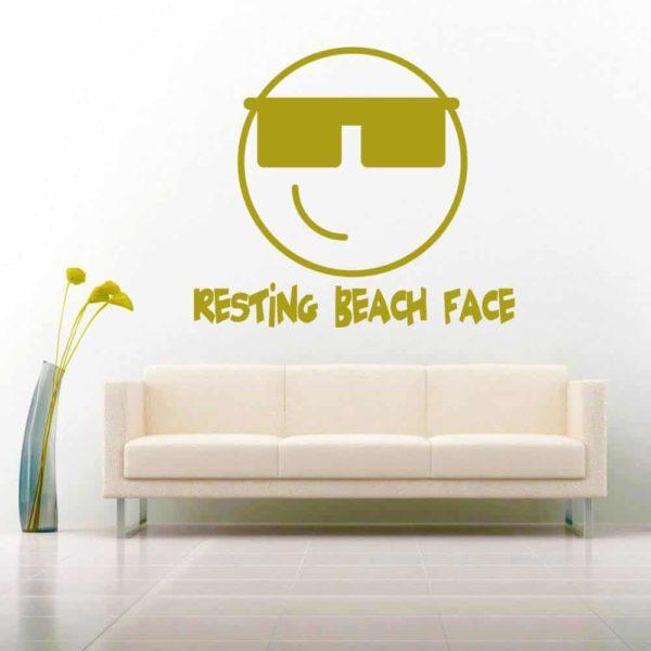 Resting Beach Face Vinyl Wall Decal Sticker
