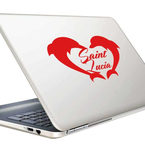 Saint Lucia Dolphin Heart_1 Vinyl Laptop Macbook Decal Sticker
