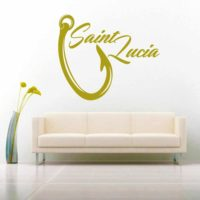 Saint Lucia Fishing Hook Vinyl Wall Decal Sticker