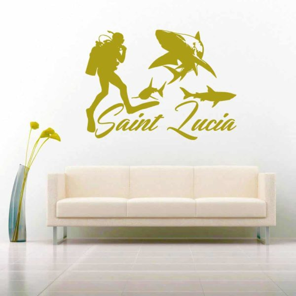 Saint Lucia Scuba Diver With Sharks Vinyl Wall Decal Sticker