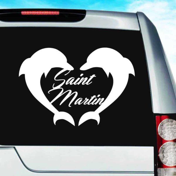 Saint Martin Dophin Heart Vinyl Car Window Decal Sticker