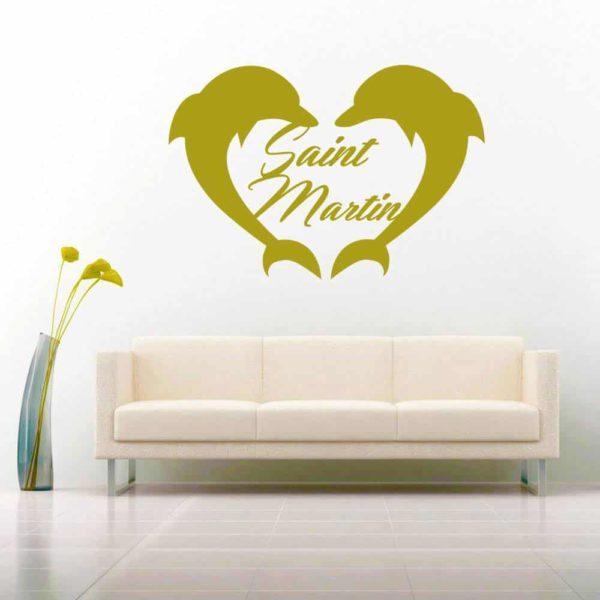 Saint Martin Dophin Heart Vinyl Wall Decal Sticker