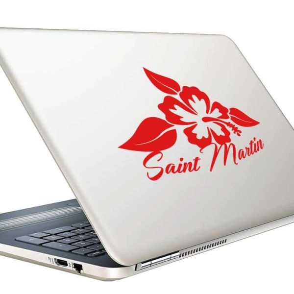 Saint Martin Hibiscus Flower_1 Vinyl Laptop Macbook Decal Sticker