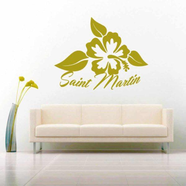 Saint Martin Hibiscus Flower_1 Vinyl Wall Decal Sticker