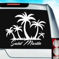 Saint Martin Palm Tree Island Vinyl Car Window Decal Sticker