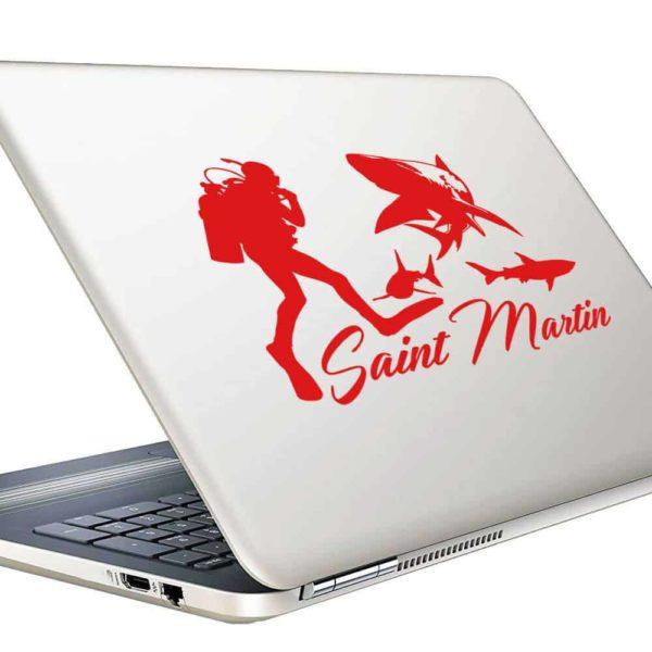 Saint Martin Scuba Diver With Sharks Vinyl Laptop Macbook Decal Sticker