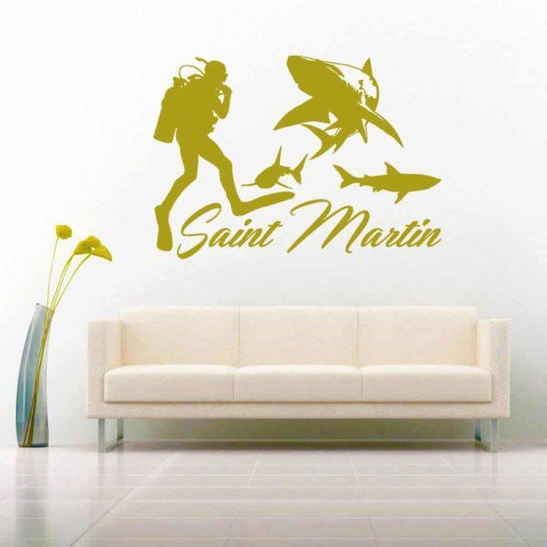 Saint Martin Scuba Diver With Sharks Vinyl Wall Decal Sticker