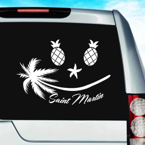 Saint Martin Tropical Smiley Face Vinyl Car Window Decal Sticker