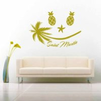 Saint Martin Tropical Smiley Face Vinyl Wall Decal Sticker