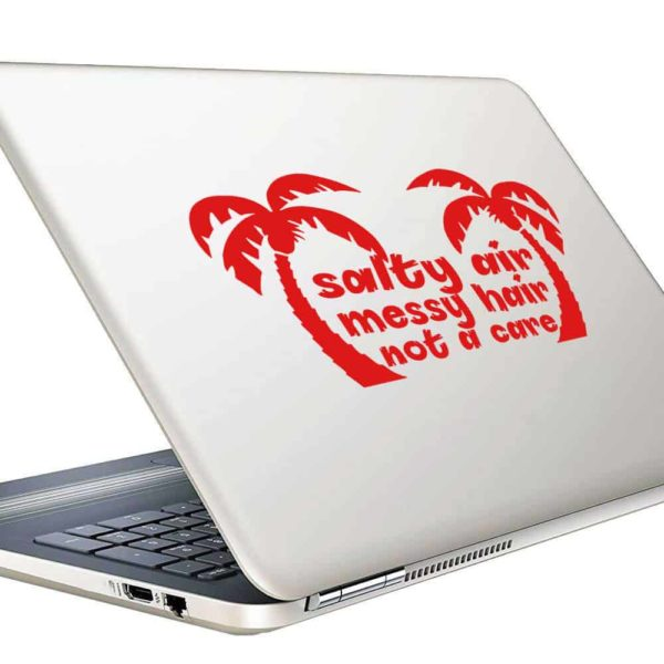 Salty Air Messay Hair Not A Care Palm Trees Vinyl Laptop Macbook Decal Sticker