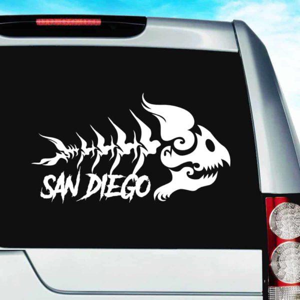 San Diego Fish Skeleton Tribal Vinyl Car Window Decal Sticker