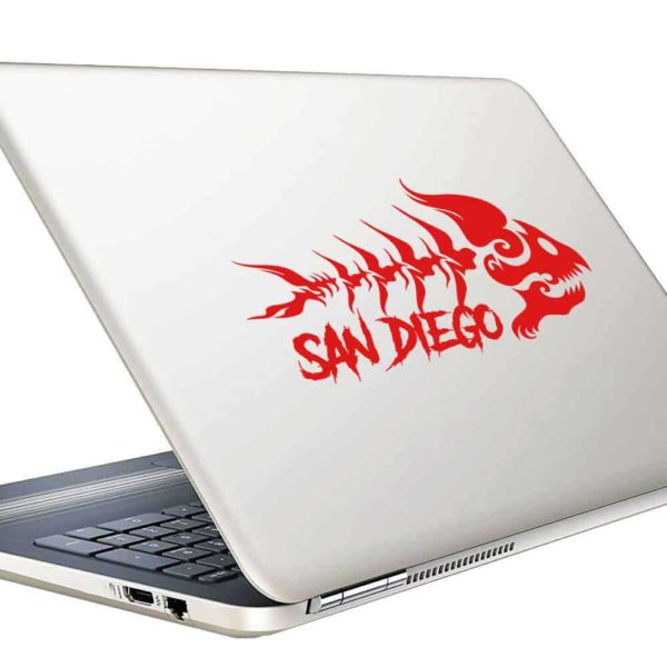San Diego Fish Skeleton Tribal Vinyl Laptop Macbook Decal Sticker