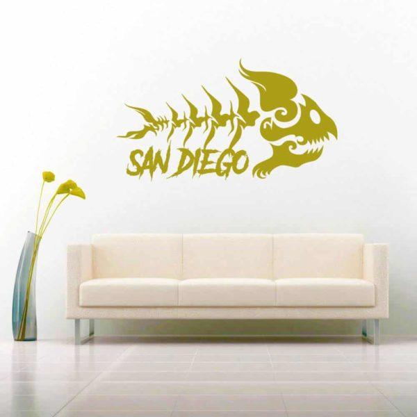 San Diego Fish Skeleton Tribal Vinyl Wall Decal Sticker