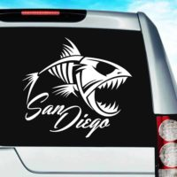 San Diego Fish Skeleton Vinyl Car Window Decal Sticker