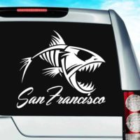 San Francisco Fish Skeleton Vinyl Car Window Decal Sticker