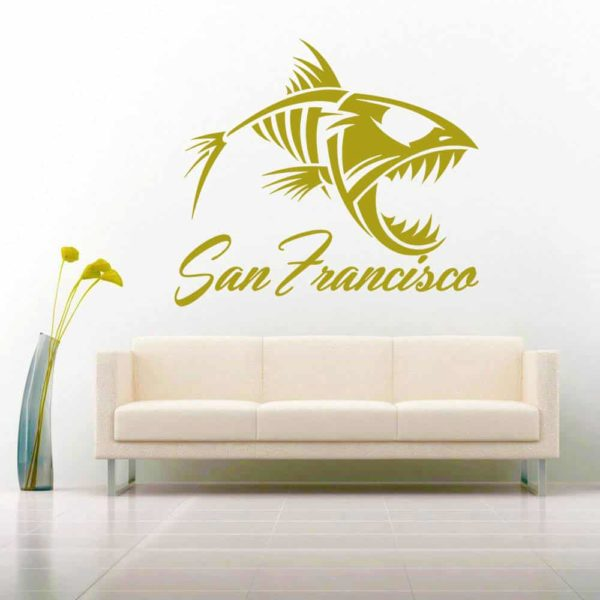 San Francisco Fish Skeleton Vinyl Wall Decal Sticker