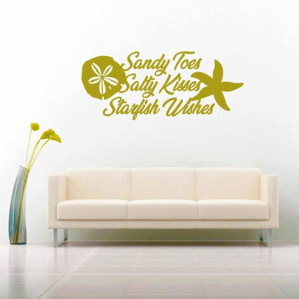 Sandy Toes Salty Kisses Starfish Wishes Vinyl Wall Decal Sticker