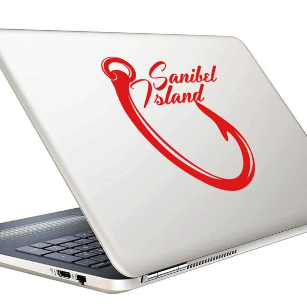 Sanibel Island Fish Hook Vinyl Laptop Macbook Decal Sticker