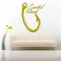 Sanibel Island Fish Hook Vinyl Wall Decal Sticker