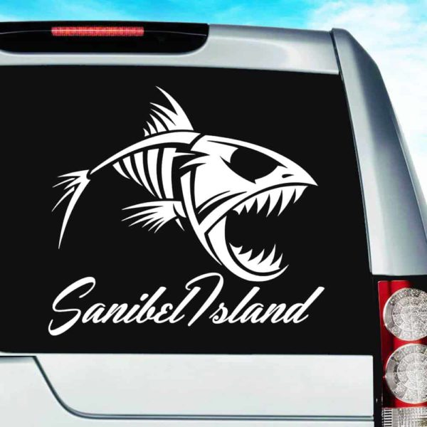 Sanibel Island Fish Skeleton Vinyl Car Window Decal Sticker