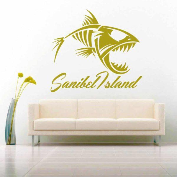 Sanibel Island Fish Skeleton Vinyl Wall Decal Sticker