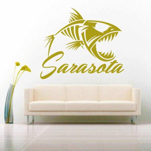 Sarasota Florida Fish Skeleton Vinyl Wall Decal Sticker