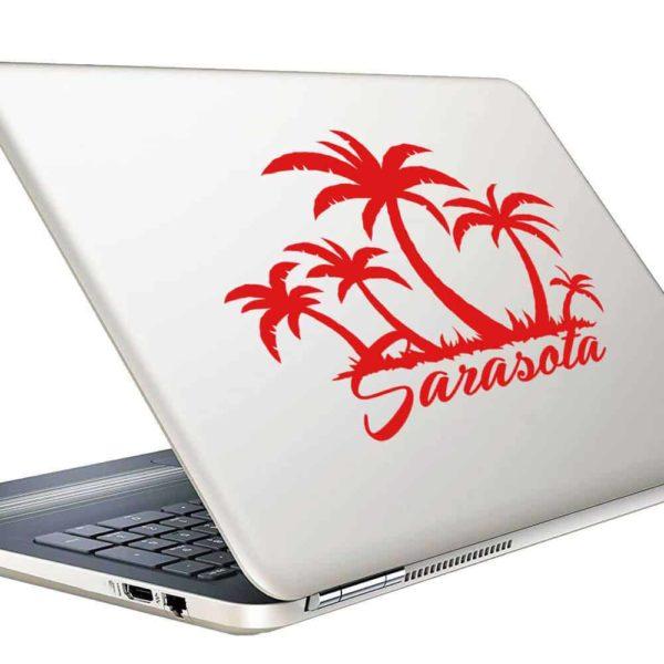 Sarasota Florida Palm Tree Island Vinyl Laptop Macbook Decal Sticker