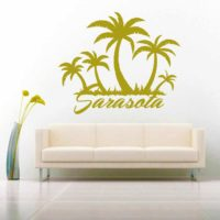 Sarasota Florida Palm Tree Island Vinyl Wall Decal Sticker